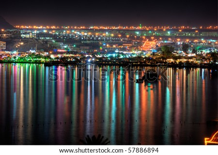 Night view of Naama Bay, Sharm al Sheikh, Egypt