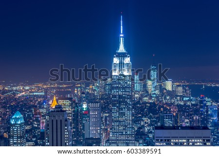 Night view of New York Manhattan during sunset stock photo