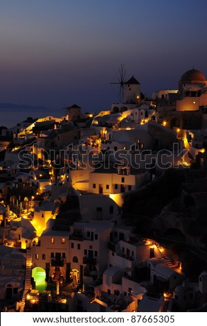 Night view of Oia, Santorini, Greece