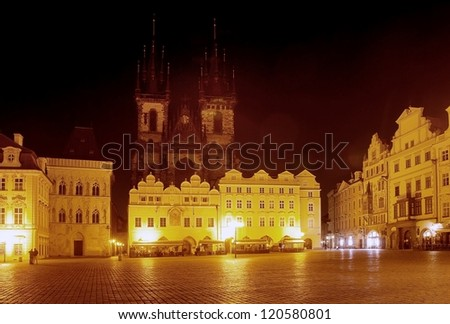 Night view of Old Town Square - Prague - Czech Republic