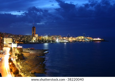 Night view of Paceville from Sliema (Malta, Maltese islands)