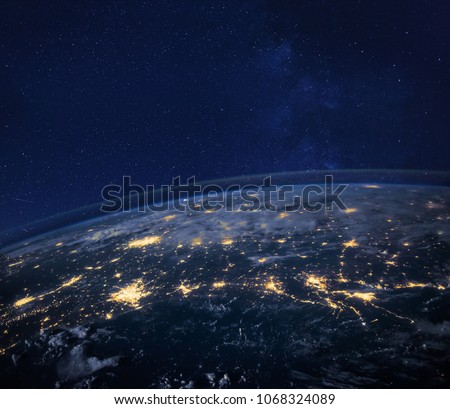 night view of planet Earth from space, beautiful background with lights and stars, close up, original image furnished by NASA #1068324089