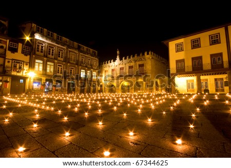 Night view of Praca Santiago in the center of Guimaraes city in the north of Portugal. European Capital of Culture 2012
