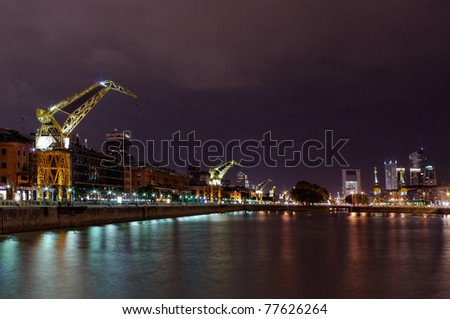 Night view of Puerto Madero, touristic destination in Buenos Aires, Argentina