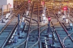 Night view of rail tracks in depot. Kiev, Ukraine. Kyiv, Ukraine