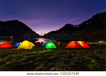 Night View Of Ranu Kumbolo Campsite. one of the familiar names, especially for those who like to ride mountains. Dubbed the paradise of Semeru,  #1321257149
