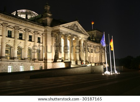 Night view of Reichstag in Berlin. The German parliament assembles to hold meetings here