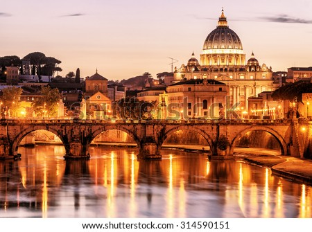 Night view of San Pietro (Saint Peter basilica) in Rome, Italy