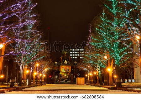 Night view of Sapporo Lighting up of Sapporo Old Provincial Office #662608564