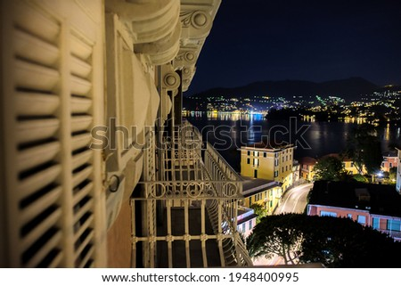 night view of sea at night on the Italian Riviera of portofino from balcony in beautiful travel background with lights of coastal villages . Сток-фото ©