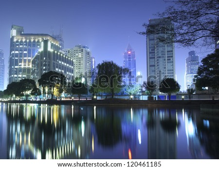night view of Shanghai city downtown area,close to Xintiandi which famous,  for bar