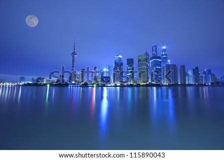 night view  of shanghai huangpu river,china