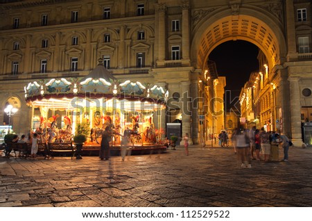 night view of street of Florence, Italy