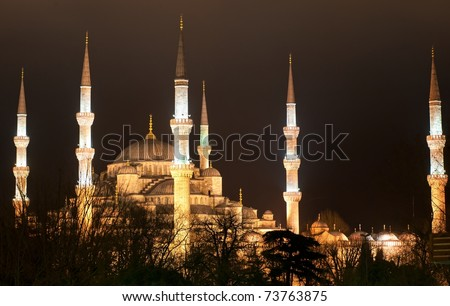 Night view of Sultanahmet Blue mosque in Istanbul, Turkey