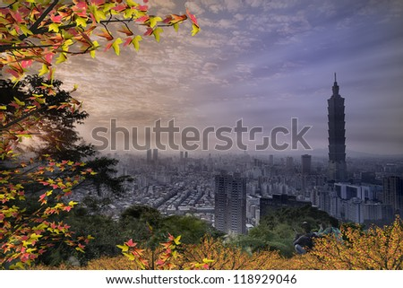 Night view of Taipei with nice maple for adv or others purpose use