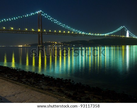 Night view of the April 25 Bridge in Lisbon, Portugal as seen from the Belem district. This suspension bridge across the Tagus River is the longest central span in Europe.