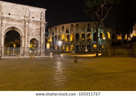 Night view of the Arch of Constantine and Colosseum, Rome, Italy.