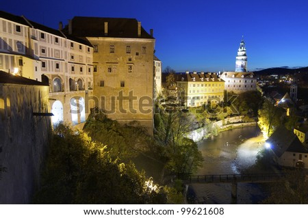 night view of the castle of Cesky Krumlov, South Bohemia, Czech Republic