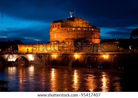 Night view of the Castle San Angelo, Rome, Italy