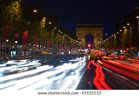 paris france at night wallpaper. stock photo : Night view of