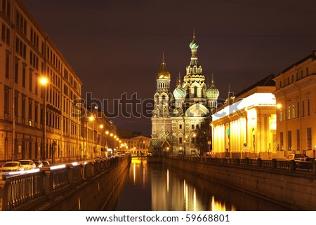Night view of the church in St. Petersburg, Russia.