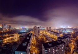 Night view of the city of Ufa from the roof of new buildings.