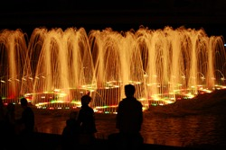 Night view of the ensemble of fountains with lighting.