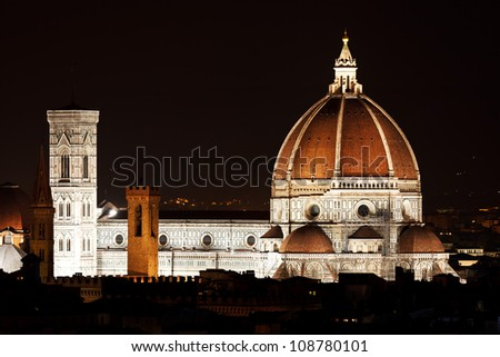 Night view of the Florence Duomo. Italy. Mediterranean Europe.