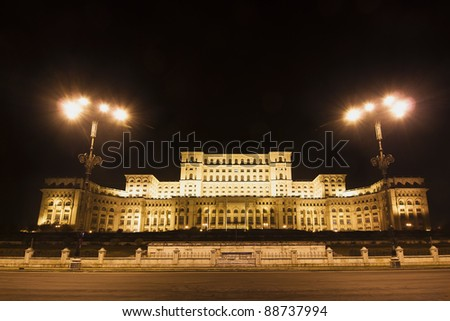 Night view of the front of the parliament building in Bucharest Romania