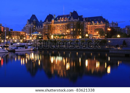 Night view of the harbour downtown Victoria