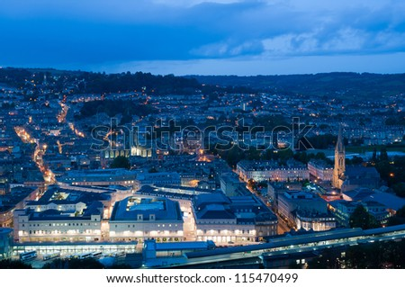 Night view of the historic city of Bath, England