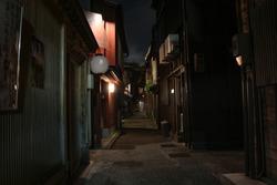 Night view of the historic Higashiyama geisha teahouse district of Kanazawa, Ishikawa Prefecture, Japan.