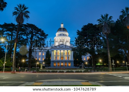 Night view of the historical California State Capitol  at Sacramento, California #1047628789