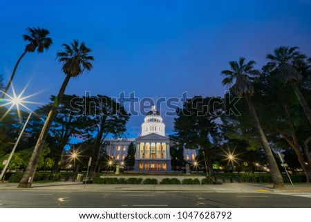 Night view of the historical California State Capitol  at Sacramento, California #1047628792