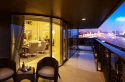 Night view of the Huangpu River from the balcony of the Shanghai Luxury Hotel in Asia China