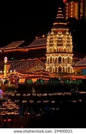 Night view of the lighted Pagoda at Kek Lok Si (Temple of Supreme Bliss), Penang