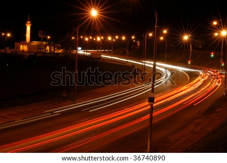 Night view of the lights of moving cars.