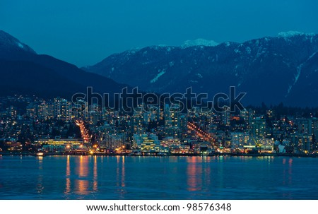 Night view of the north Vancouver  BC , Canada.