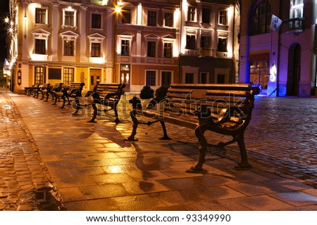 Night view of the old European town. Lvov, Ukraine