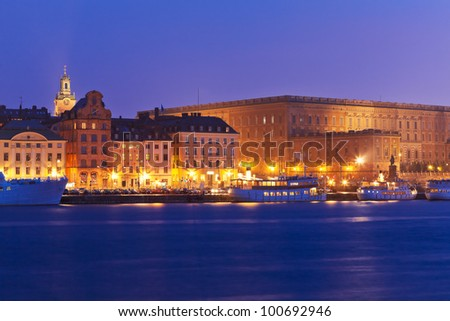 Night view of the Old Town (Gamla Stan) pier in Stockholm, Sweden