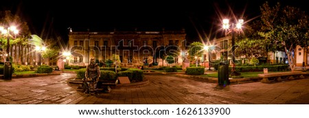 Night View of the Plaza del Carmen, with the Museum of the Mask, and the Theatre of Peace on the background, in the Mexican city of San Luis Potosi Stockfoto ©