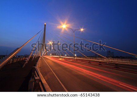 Night view of the Rama VIII bridge over the Chao Praya river (Bangkok, Thailand)