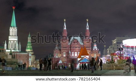 Stock Photo Night view of the Red Square with Christmas decoration in Moscow timelapse hyperlapse. The Red Square is a popular place to celebrate New Year and Christmas at night. 4K