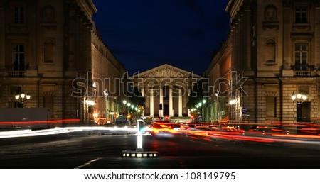 Night view of the Roman Catholic church Madelein, Paris, France