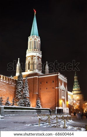Night view of The Saint Nicholas (Nikolskaya) Tower on Red Square, Moscow, Russia
