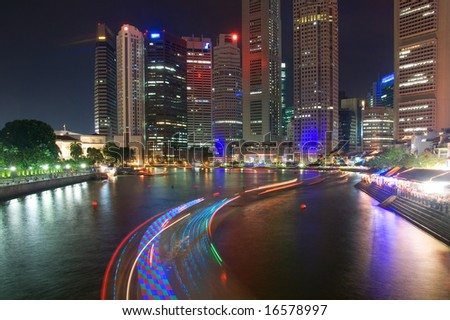 Night view of the Singapore Boat Quay with lights