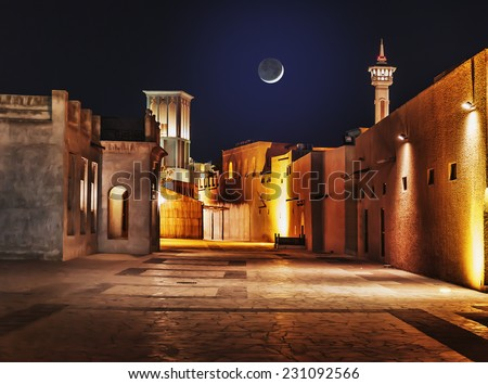 Night view of the streets of the old Arab city Dubai UAE - Shutterstock ID 231092566