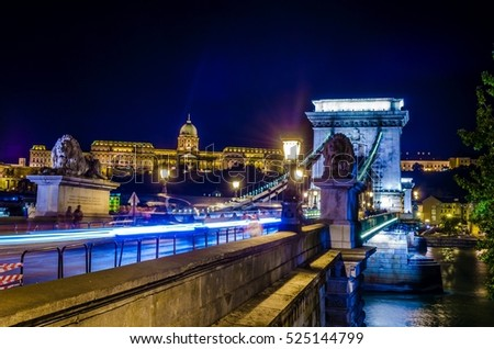Night view of the Szechenyi Chain Bridge is a suspension bridge that spans the River Danube between Buda and Pest #525144799