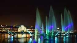 Night view of the water front of Dubai festival city during Dubai shopping festival 2017