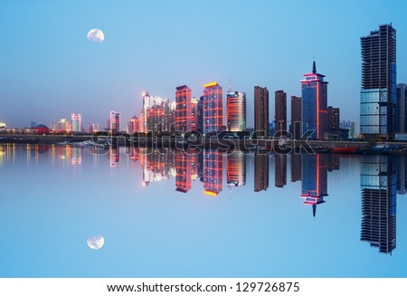 Night view of the waterfront cities: Nanchang, China